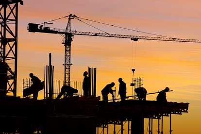 A building site at dawn toeic listening for Construction site wall mural